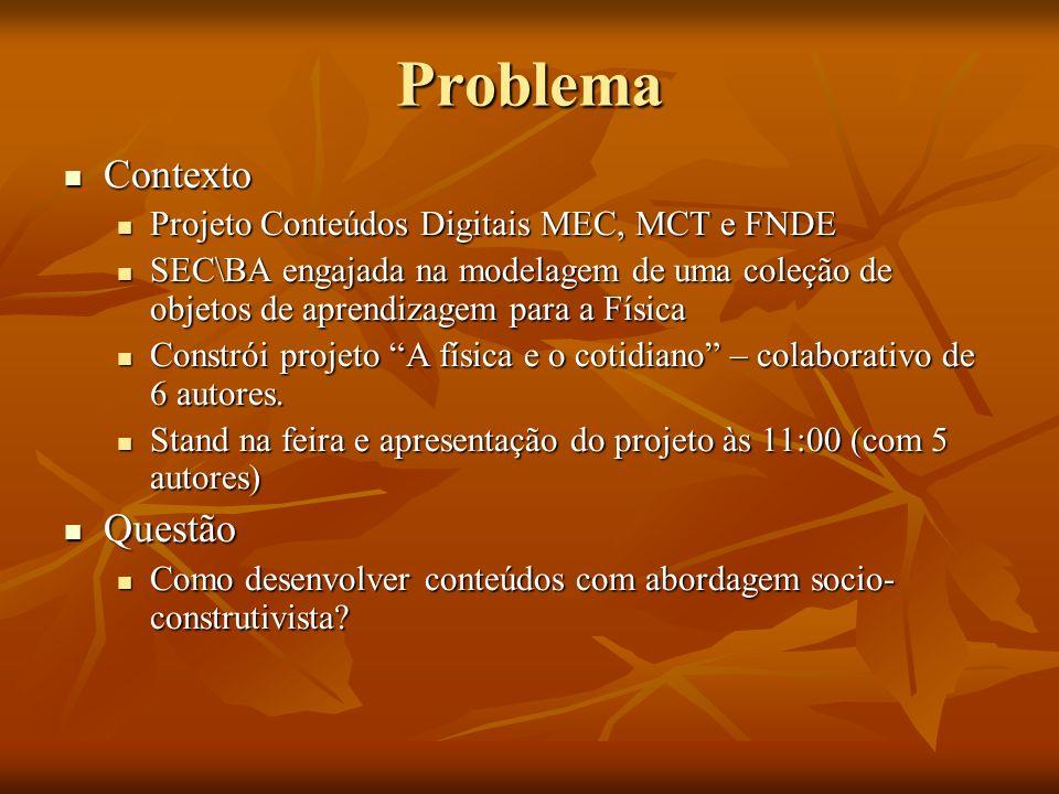 Contexto Contexto Projeto Conteúdos Digitais MEC, MCT e FNDE Projeto Conteúdos Digitais MEC, MCT e FNDE SEC\BA engajada na modelagem de uma coleção de