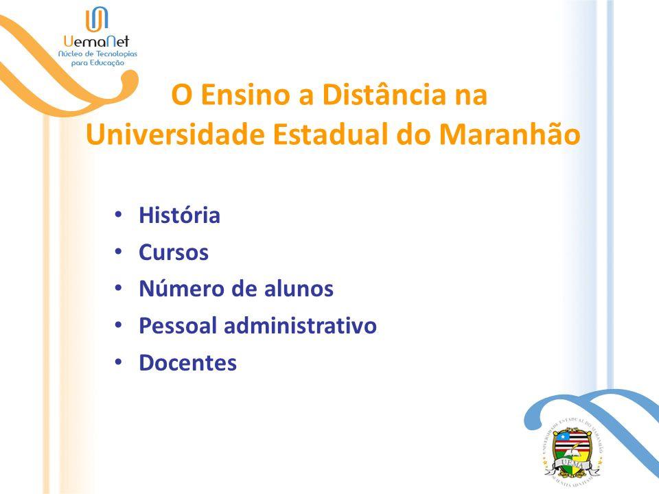 O Ensino a Distância na Universidade Estadual do Maranhão História Cursos Número de alunos Pessoal administrativo Docentes