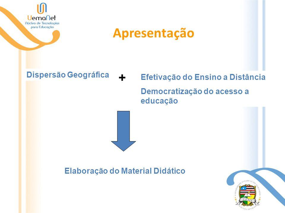 Apresentação Dispersão Geográfica Efetivação do Ensino a Distância Democratização do acesso a educação Elaboração do Material Didático +