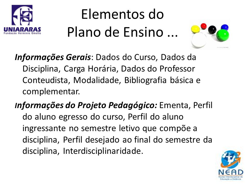 Elementos do Plano de Ensino... Informações Gerais: Dados do Curso, Dados da Disciplina, Carga Horária, Dados do Professor Conteudista, Modalidade, Bi