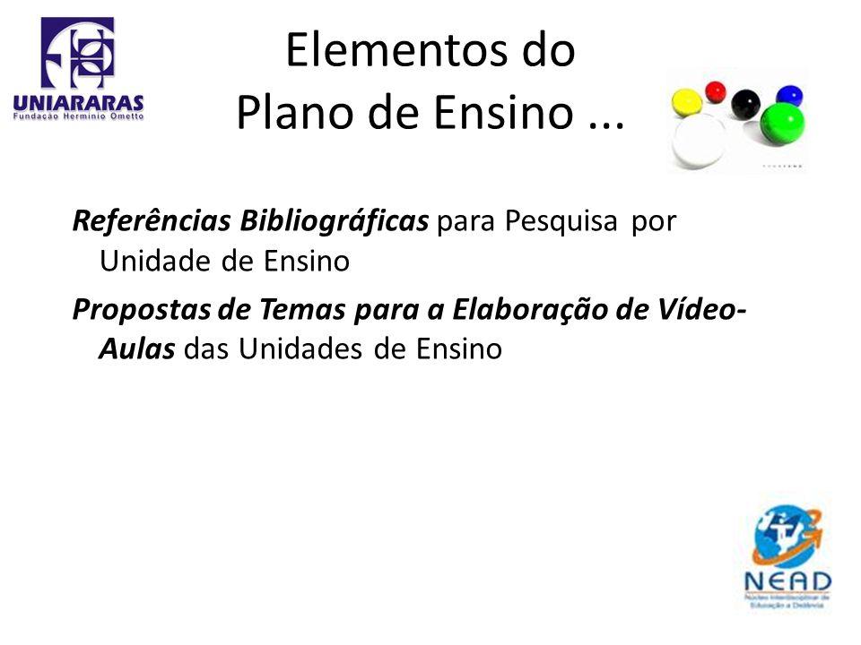 Referências Bibliográficas para Pesquisa por Unidade de Ensino Propostas de Temas para a Elaboração de Vídeo- Aulas das Unidades de Ensino Elementos d