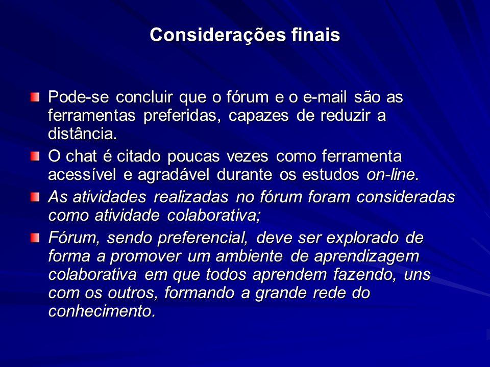 Considerações finais Pode-se concluir que o fórum e o e-mail são as ferramentas preferidas, capazes de reduzir a distância. O chat é citado poucas vez