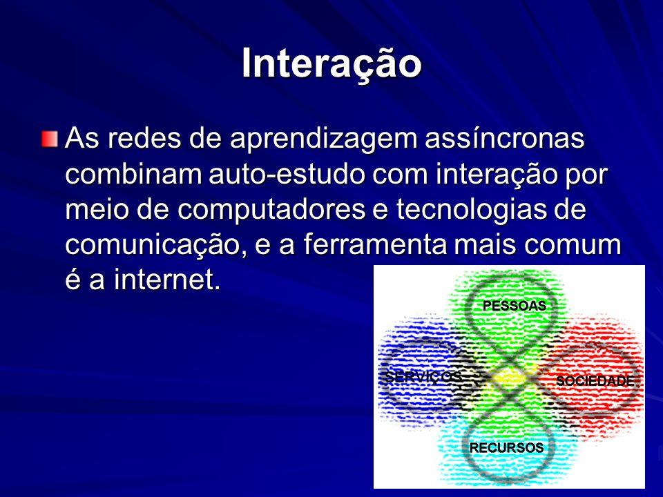 Interação As redes de aprendizagem assíncronas combinam auto-estudo com interação por meio de computadores e tecnologias de comunicação, e a ferrament