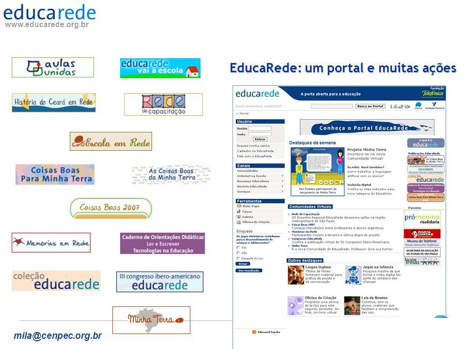 www.educarede.org.br mila@cenpec.org.br COMUNIDADES VIRTUAIS DO EDUCAREDE GESTÃO AUTÔNOMA