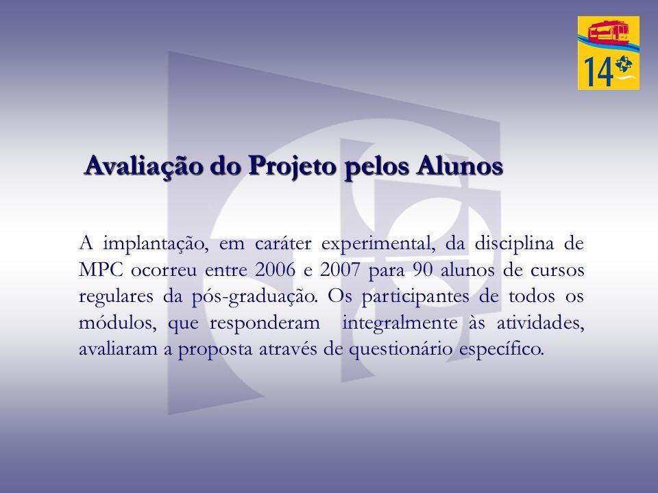 A implantação, em caráter experimental, da disciplina de MPC ocorreu entre 2006 e 2007 para 90 alunos de cursos regulares da pós-graduação. Os partici