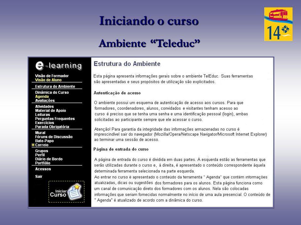 Iniciando o curso Ambiente Teleduc