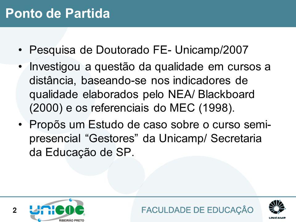 2 Pesquisa de Doutorado FE- Unicamp/2007 Investigou a questão da qualidade em cursos a distância, baseando-se nos indicadores de qualidade elaborados