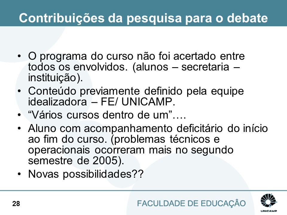 28 Contribuições da pesquisa para o debate O programa do curso não foi acertado entre todos os envolvidos. (alunos – secretaria – instituição). Conteú