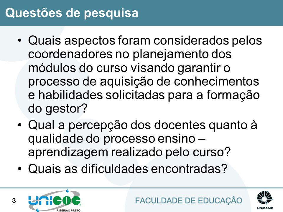 3 Quais aspectos foram considerados pelos coordenadores no planejamento dos módulos do curso visando garantir o processo de aquisição de conhecimentos