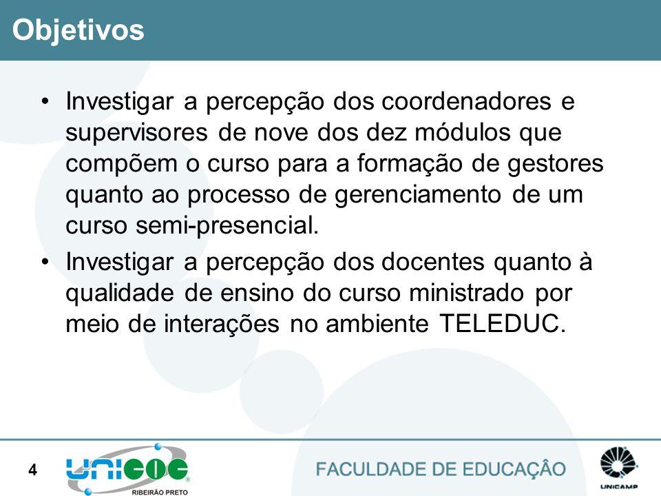 5 Curso Gestores Curso oferecido pela Faculdade de Educação da Unicamp e Secretaria de Educação do Estado de São Paulo e oferecido para 6.000 servidores em cargos de gerenciamento do sistema público estadual de ensino participantes do CEGE - Curso de Especialização em Gestão Educacional.