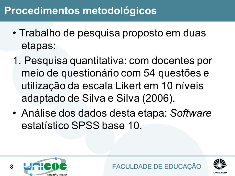 8 Trabalho de pesquisa proposto em duas etapas: 1. Pesquisa quantitativa: com docentes por meio de questionário com 54 questões e utilização da escala
