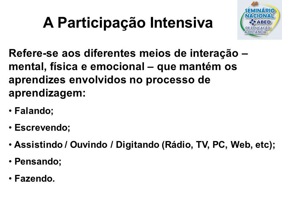 A Participação Intensiva Refere-se aos diferentes meios de interação – mental, física e emocional – que mantém os aprendizes envolvidos no processo de