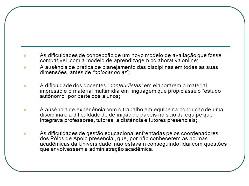 As dificuldades de concepção de um novo modelo de avaliação que fosse compatível com a modelo de aprendizagem colaborativa online; A ausência de práti
