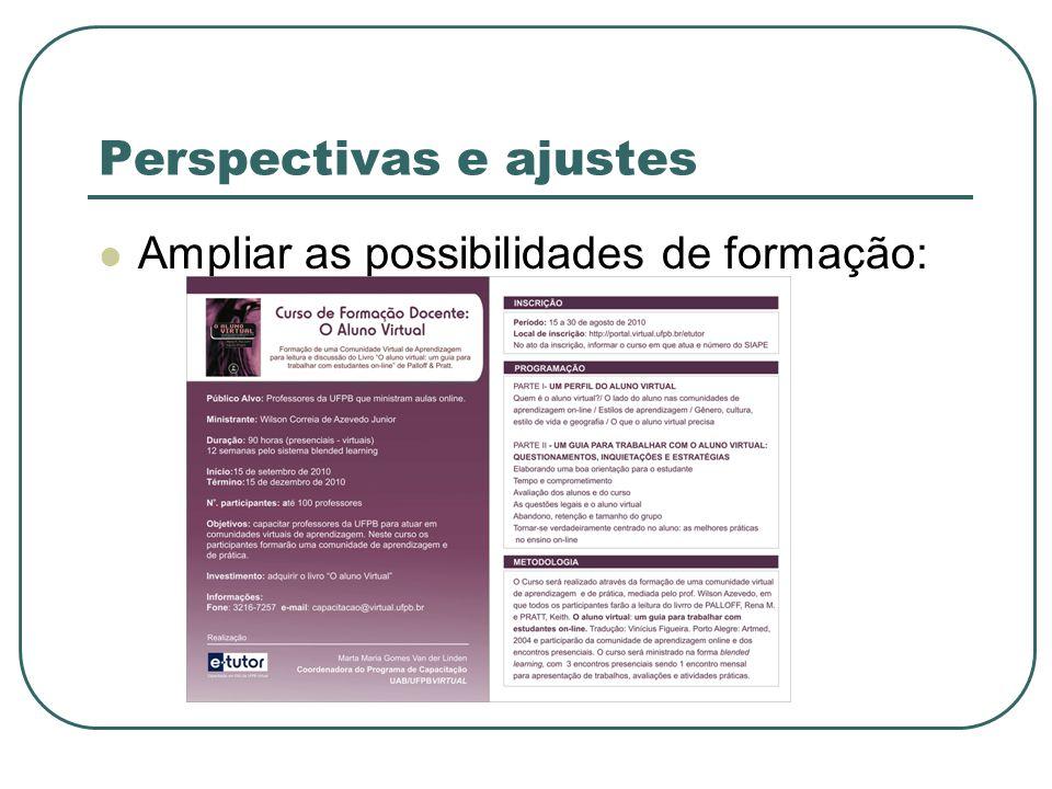 Perspectivas e ajustes Ampliar as possibilidades de formação: