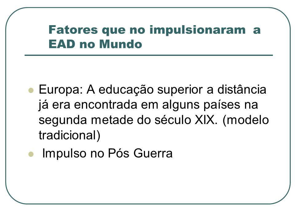 Fatores que no impulsionaram a EAD no Mundo Europa: A educação superior a distância já era encontrada em alguns países na segunda metade do século XIX