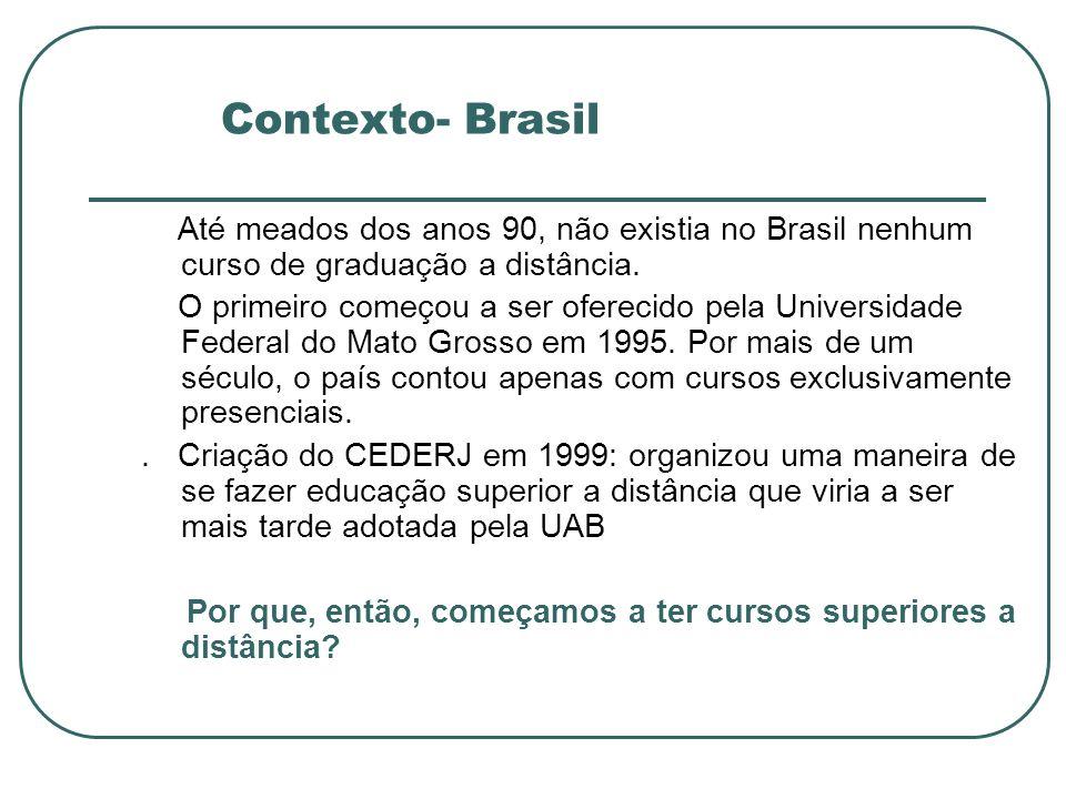Contexto- Brasil Até meados dos anos 90, não existia no Brasil nenhum curso de graduação a distância. O primeiro começou a ser oferecido pela Universi