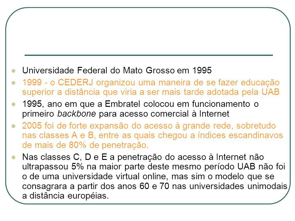 Universidade Federal do Mato Grosso em 1995 1999 - o CEDERJ organizou uma maneira de se fazer educação superior a distância que viria a ser mais tarde