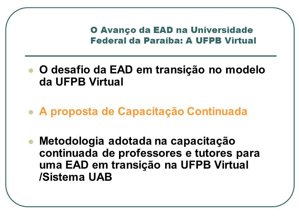 O Avanço da EAD na Universidade Federal da Paraíba: A UFPB Virtual O desafio da EAD em transição no modelo da UFPB Virtual A proposta de Capacitação C