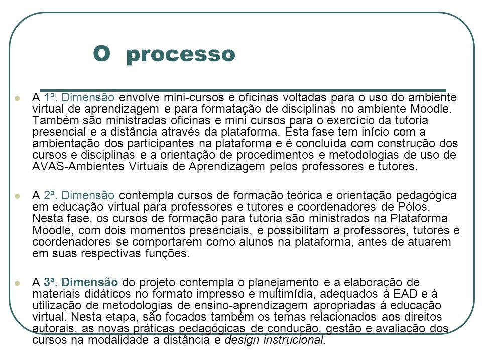 O processo A 1ª. Dimensão envolve mini-cursos e oficinas voltadas para o uso do ambiente virtual de aprendizagem e para formatação de disciplinas no a