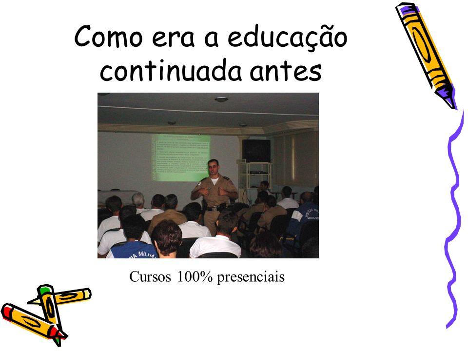 Como era a educação continuada antes Cursos 100% presenciais