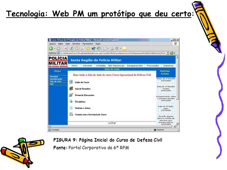 Tecnologia: Web PM um protótipo que deu certo : FIGURA 9: Página Inicial do Curso de Defesa Civil Fonte: Portal Corporativo da 6ª RPM
