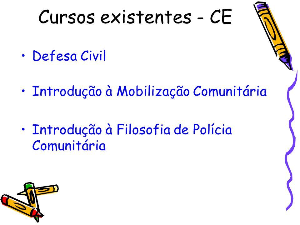 Defesa Civil Introdução à Mobilização Comunitária Introdução à Filosofia de Polícia Comunitária Cursos existentes - CE