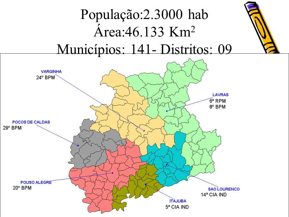 População:2.3000 hab Área:46.133 Km 2 Municípios: 141- Distritos: 09