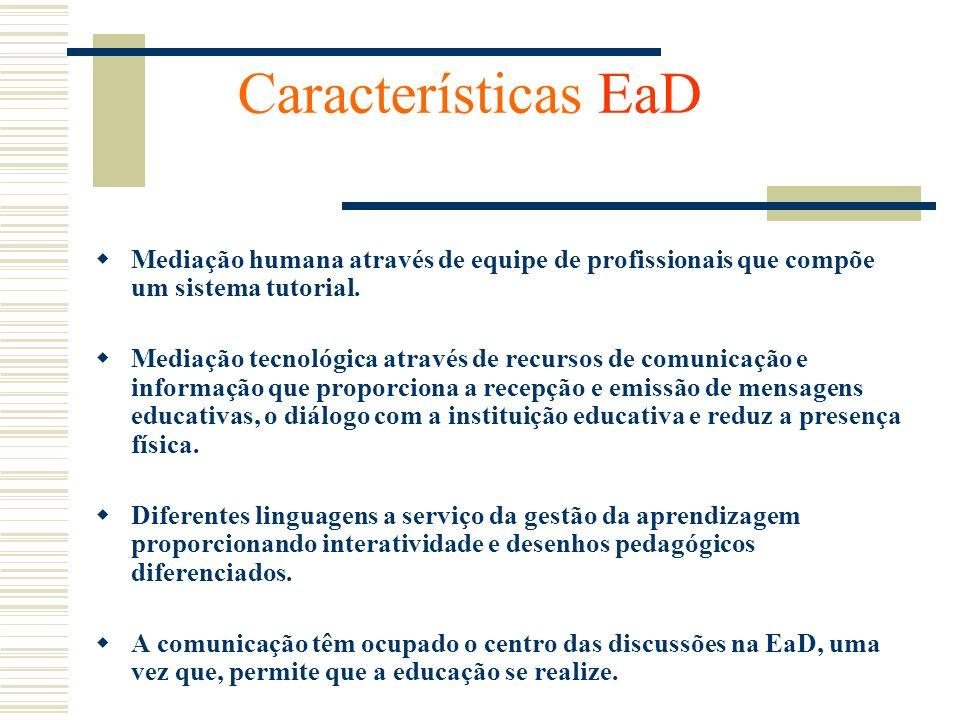 Características EaD Mediação humana através de equipe de profissionais que compõe um sistema tutorial. Mediação tecnológica através de recursos de com