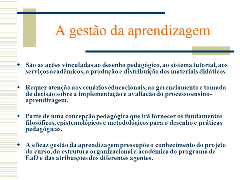 A gestão da aprendizagem São as ações vinculadas ao desenho pedagógico, ao sistema tutorial, aos serviços acadêmicos, a produção e distribuição dos ma