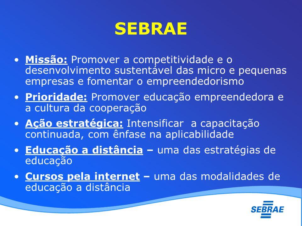 SEBRAE Missão: Promover a competitividade e o desenvolvimento sustentável das micro e pequenas empresas e fomentar o empreendedorismo Prioridade: Prom