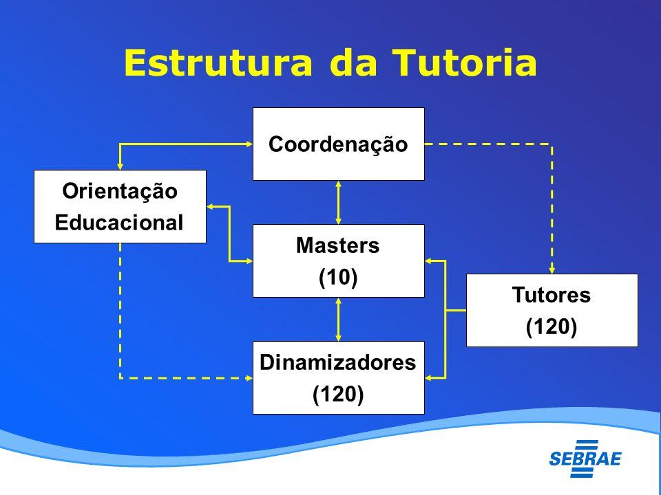 Estrutura da Tutoria Coordenação Masters (10) Dinamizadores (120) Orientação Educacional Tutores (120)