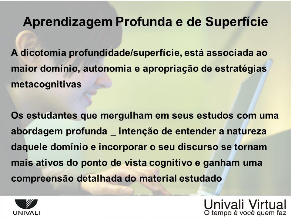 Aprendizagem Profunda e de Superfície A dicotomia profundidade/superfície, está associada ao maior domínio, autonomia e apropriação de estratégias met