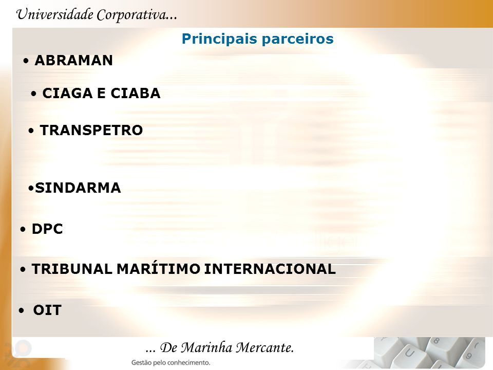 Universidade Corporativa...... De Marinha Mercante. OIT Principais parceiros ABRAMAN TRANSPETRO SINDARMA DPC TRIBUNAL MARÍTIMO INTERNACIONAL CIAGA E C