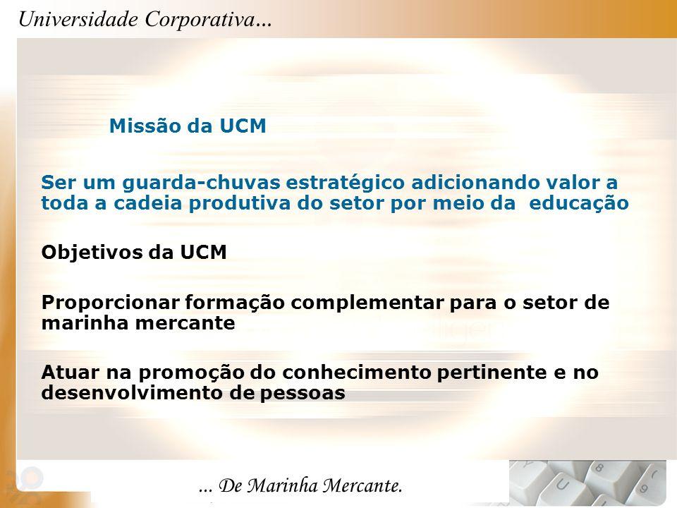 Universidade Corporativa...... De Marinha Mercante. Missão da UCM Ser um guarda-chuvas estratégico adicionando valor a toda a cadeia produtiva do seto