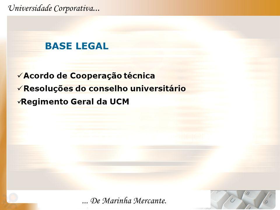 Universidade Corporativa...... De Marinha Mercante. BASE LEGAL Acordo de Cooperação técnica Resoluções do conselho universitário Regimento Geral da UC