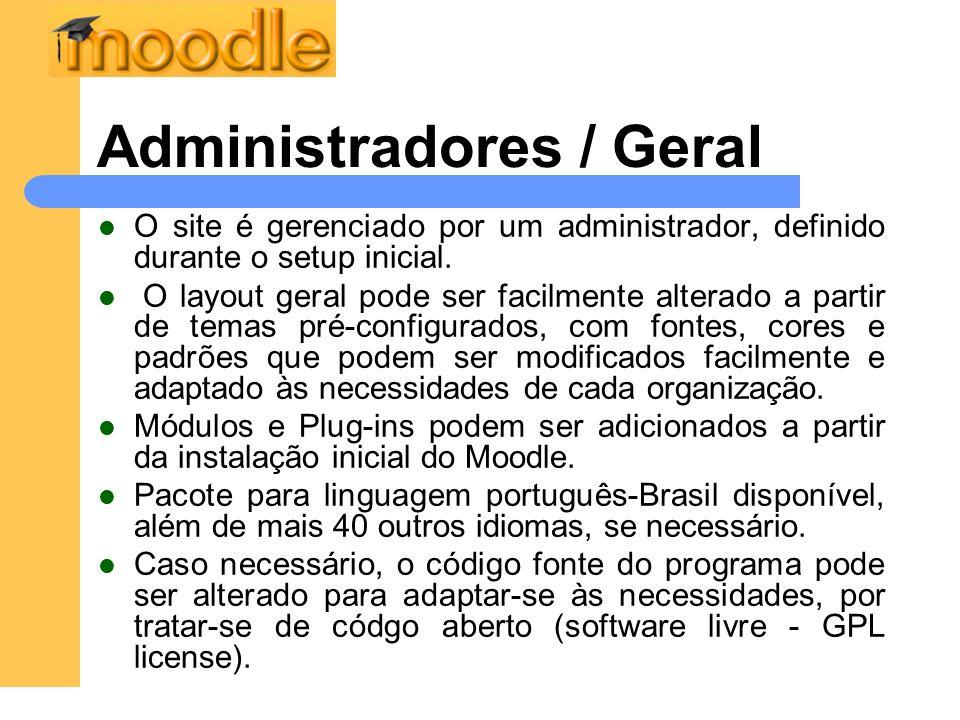 Administradores / Cursos Níveis de acesso, administração e controle.