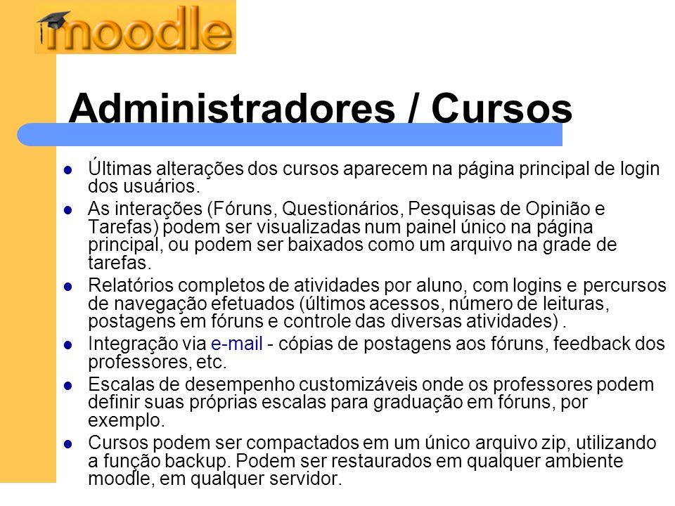 Administradores / Cursos Últimas alterações dos cursos aparecem na página principal de login dos usuários.