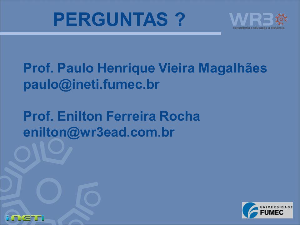 PERGUNTAS ? Prof. Paulo Henrique Vieira Magalhães paulo@ineti.fumec.br Prof. Enilton Ferreira Rocha enilton@wr3ead.com.br