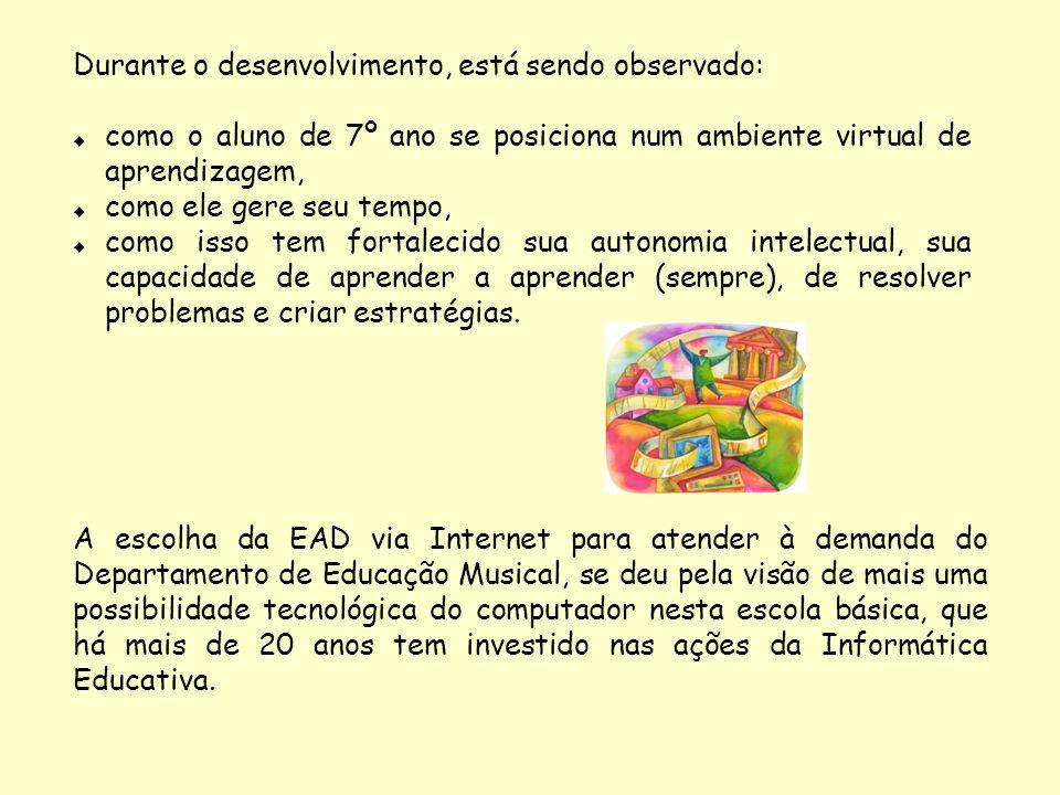 A escolha da EAD via Internet para atender à demanda do Departamento de Educação Musical, se deu pela visão de mais uma possibilidade tecnológica do c