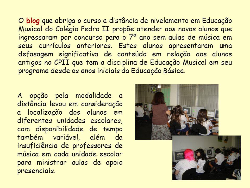 O blog que abriga o curso a distância de nivelamento em Educação Musical do Colégio Pedro II propõe atender aos novos alunos que ingressaram por concu