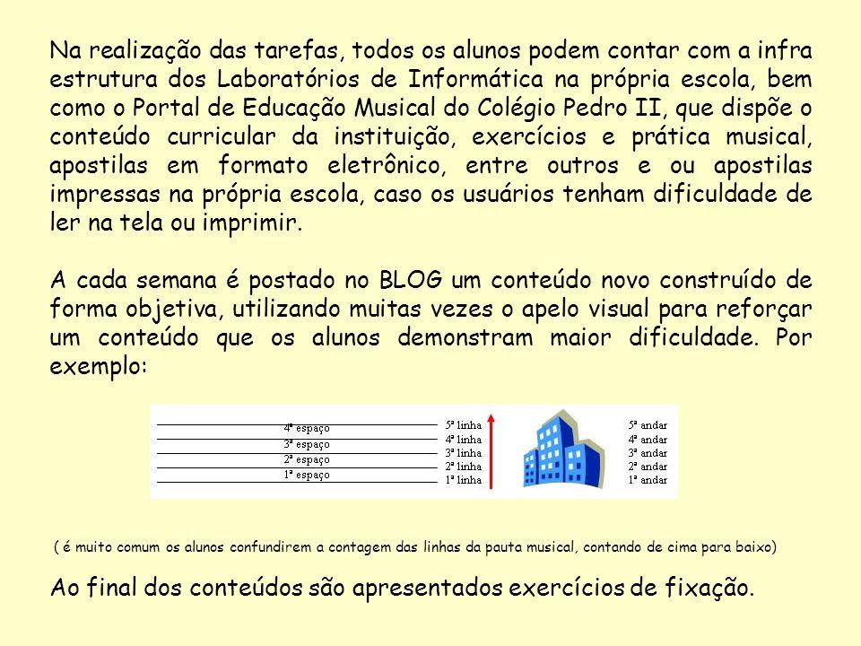 Na realização das tarefas, todos os alunos podem contar com a infra estrutura dos Laboratórios de Informática na própria escola, bem como o Portal de