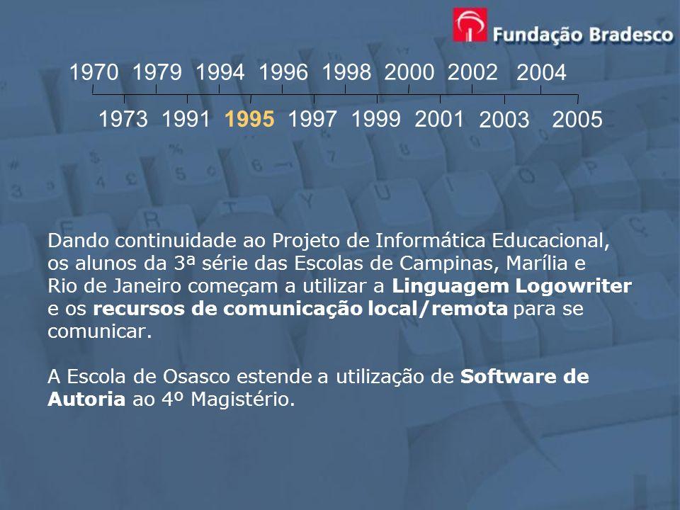 Dando continuidade ao Projeto de Informática Educacional, os alunos da 3ª série das Escolas de Campinas, Marília e Rio de Janeiro começam a utilizar a