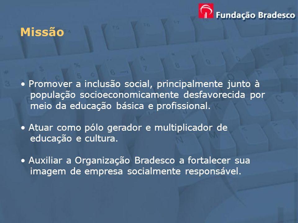 Promover a inclusão social, principalmente junto à população socioeconomicamente desfavorecida por meio da educação básica e profissional. Atuar como