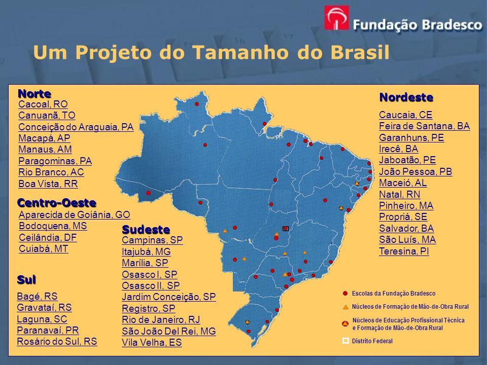 Um Projeto do Tamanho do Brasil Centro-Oeste Norte Cacoal, RO Canuanã, TO Conceição do Araguaia, PA Macapá, AP Manaus, AM Paragominas, PA Rio Branco,