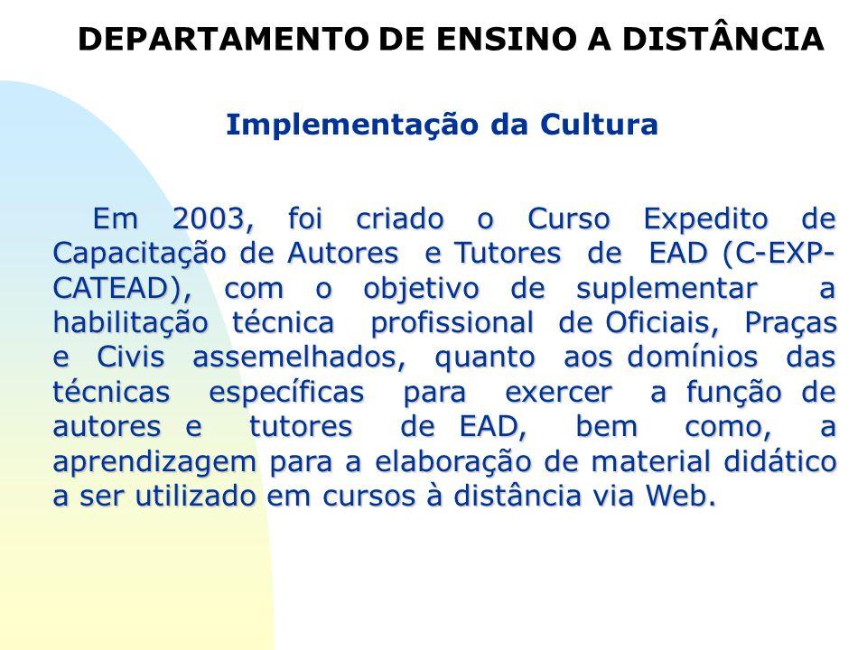 Implementação da Cultura Em 2003, foi criado o Curso Expedito de Capacitação de Autores e Tutores de EAD (C-EXP- CATEAD), com o objetivo de suplementa