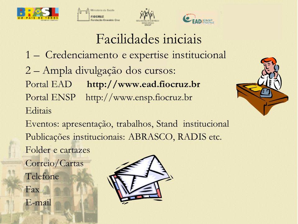 Facilidades iniciais 1 – Credenciamento e expertise institucional 2 – Ampla divulgação dos cursos: Portal EAD http://www.ead.fiocruz.br Portal ENSP ht