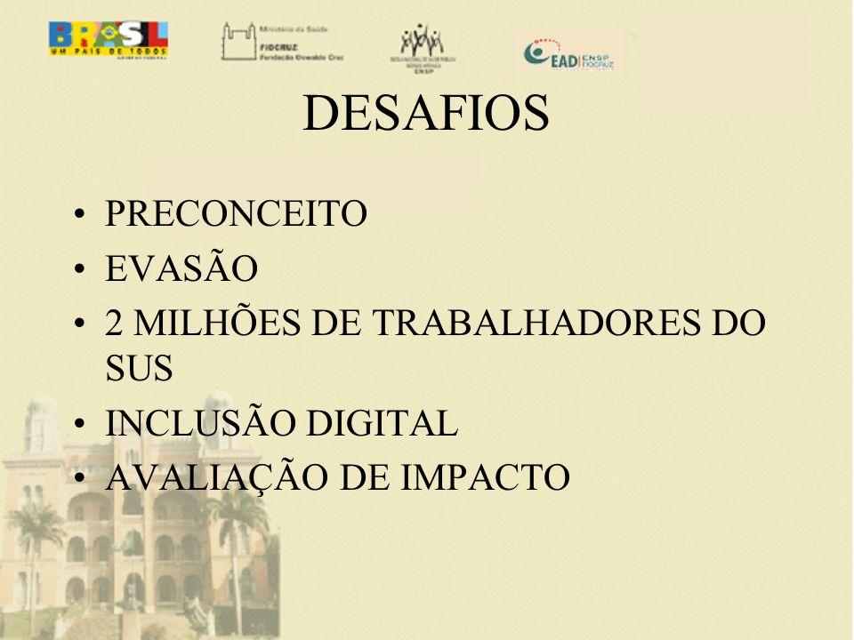 DESAFIOS PRECONCEITO EVASÃO 2 MILHÕES DE TRABALHADORES DO SUS INCLUSÃO DIGITAL AVALIAÇÃO DE IMPACTO