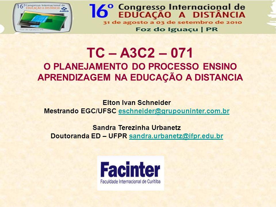TC – A3C2 – 071 O PLANEJAMENTO DO PROCESSO ENSINO APRENDIZAGEM NA EDUCAÇÃO A DISTANCIA Elton Ivan Schneider Mestrando EGC/UFSC eschneider@grupouninter