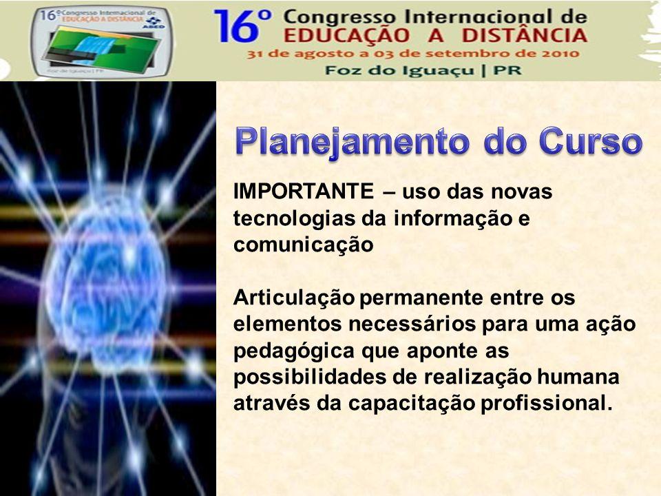 IMPORTANTE – uso das novas tecnologias da informação e comunicação Articulação permanente entre os elementos necessários para uma ação pedagógica que