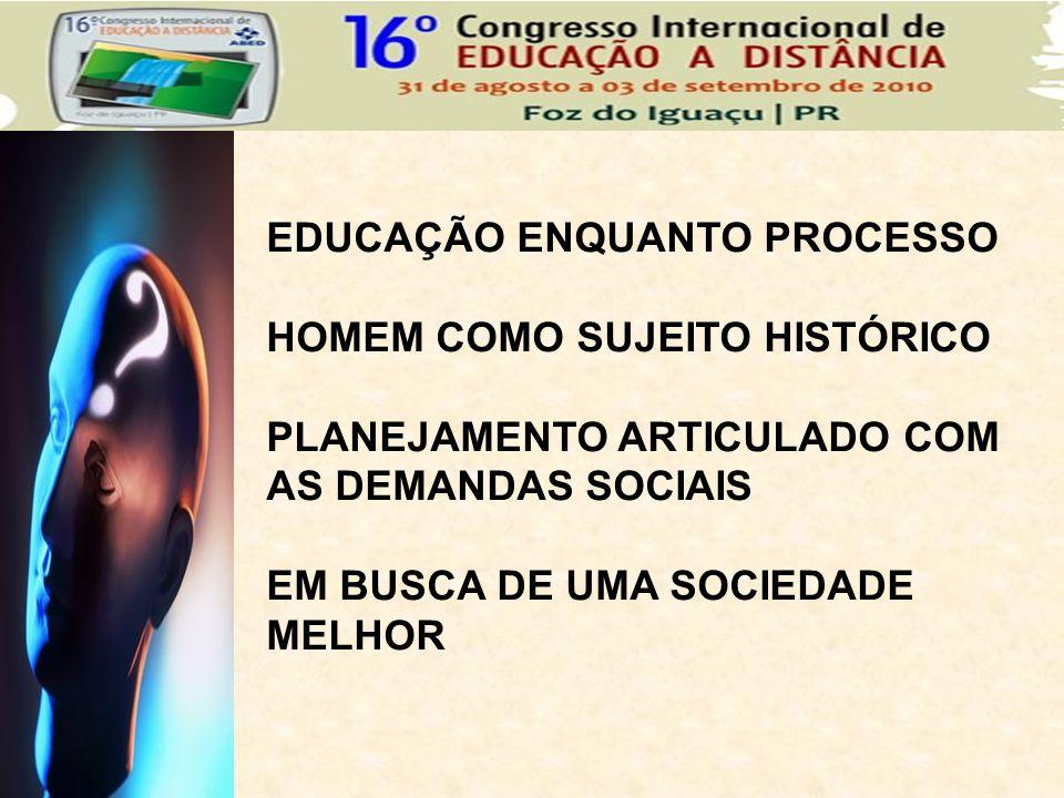 EDUCAÇÃO ENQUANTO PROCESSO HOMEM COMO SUJEITO HISTÓRICO PLANEJAMENTO ARTICULADO COM AS DEMANDAS SOCIAIS EM BUSCA DE UMA SOCIEDADE MELHOR
